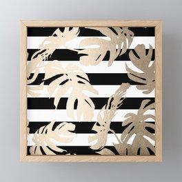 Simply Tropical Palm Leaves on Stripes Framed Mini Art Print