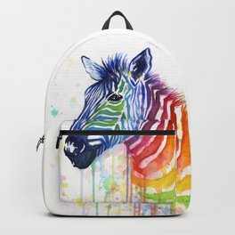 Zebra Watercolor Rainbow Animal Painting Ode to Fruit Stripes Backpack