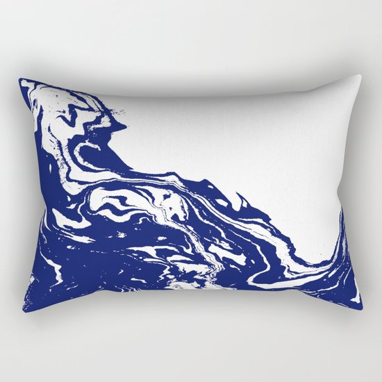 Indigo Wave water ocean abstract painting blue and white nautical trendy gender neutral dorm  Rectangular Pillow