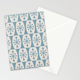 Mid Century Modern Atomic Fusion Pattern 335 Blue and Beige Stationery Cards