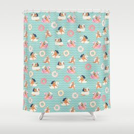 Gils on inflatable in swimming pool floats. Shower Curtain