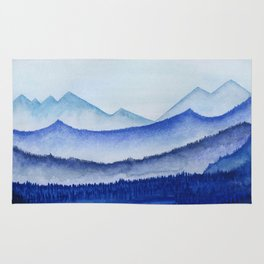 blue misty mountain ridges Rug