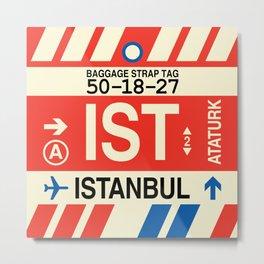 IST Istanbul • Airport Code and Vintage Baggage Tag Design Metal Print