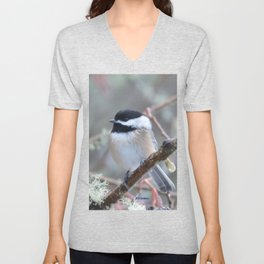 Chickadee in the Alder Tree Unisex V-Neck
