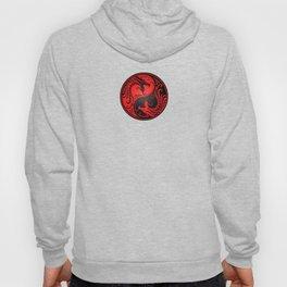 Yin Yang Dragons Red and Black Hoody