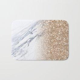Bronze Copper Gold Glitter White Gray Marble Luxury III Bath Mat