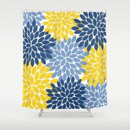 Blue Yellow Flower Burst Floral Pattern Shower Curtain