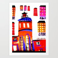 stockholm Art Prints featuring Stockholm by Jokannan