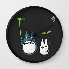 Chu & Chibi Totoro Pop art - Black Version Wall Clock
