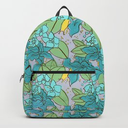Blue Lilies and Orchids Backpack