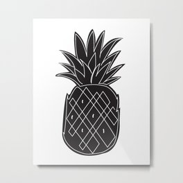 Single line Pineapple Metal Print