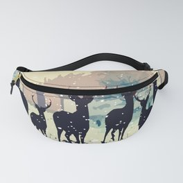 Deer in the snowy forest Fanny Pack