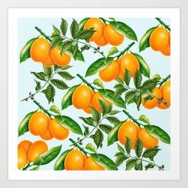 Cute Oranges Print on Blue Background Art Print