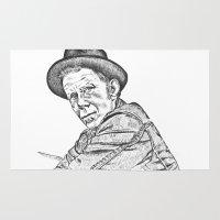 tom waits Area & Throw Rugs featuring Tom Waits Sketch in Black by JennFolds5 * Jennifer Delamar-Goss