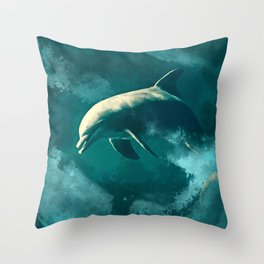 Watercolor Wild Dolphin  Digital Art Throw Pillow
