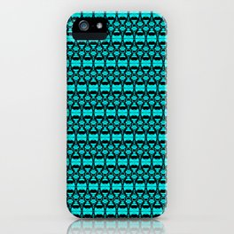 Abstract Pattern Dividers 02 in Turquoise Black iPhone Case
