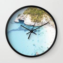 Aerial photograph of cliff beach in Sardinia Wall Clock