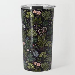 Herbarium ~ vintage inspired botanical art print ~ black Travel Mug