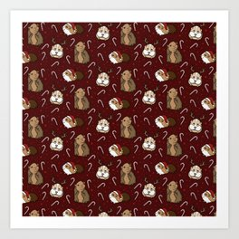 Festive Christmas Guinea Pig and Candy Cane Pattern Art Print