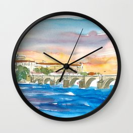 Charles Bridge And Prague Castle View with Hradcin Wall Clock