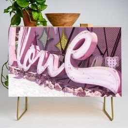 "Pink ""In Love"" Sign at the Neon Museum in Las Vegas, Nevada Credenza"