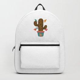 Cute Leopard Cactus Boho Chic Colorful Retro Backpack