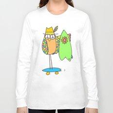 Keep Shredding Surf Skate Peace Owl Long Sleeve T-shirt