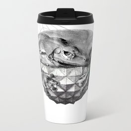 Zoological Serie: Resilience, Frog, cosmic, geometric, space, animal, green Metal Travel Mug