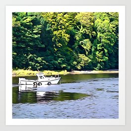 Little Boat on the River Eske Art Print