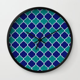 quatrefoil - green on blue Wall Clock