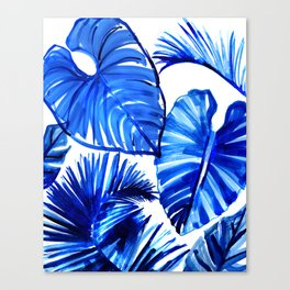 Bright Blue Jungle Leaves Canvas Print