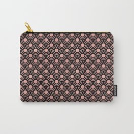 Mermaid Scales in Warm Rose Gold on Black Carry-All Pouch