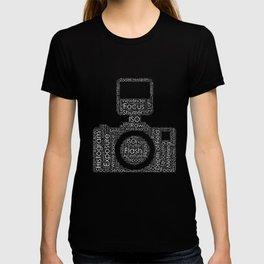 Photography Word Cloud Camera Shape T-shirt