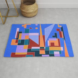 Modern City view in abstract geometric shapes Rug