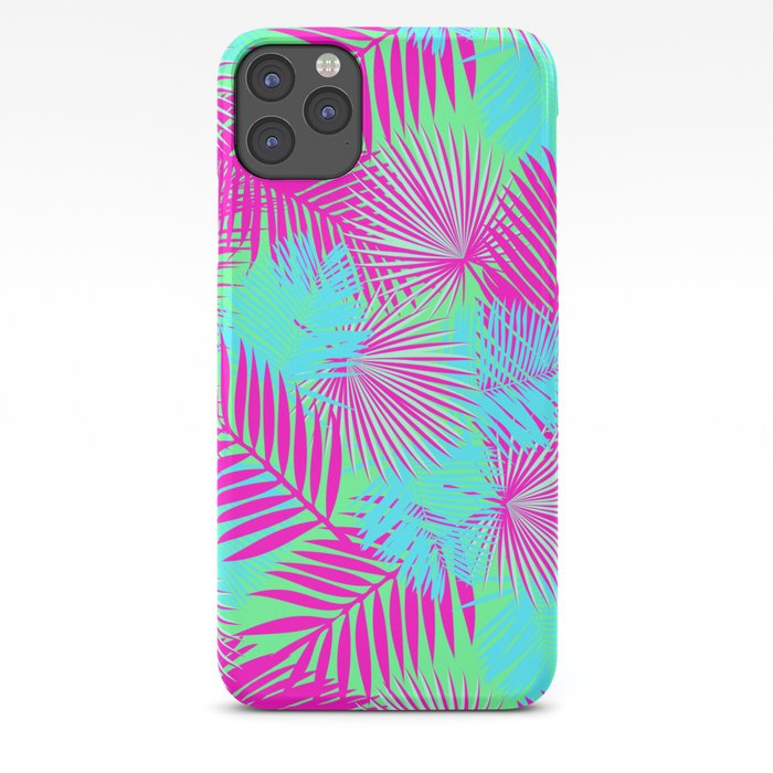Neon Pink & Blue Tropical Print iPhone Case