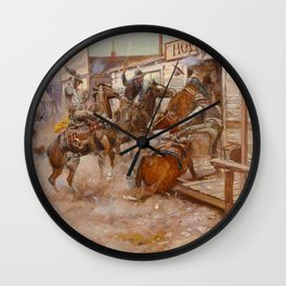 """In Without Knocking"" by Charles M Russell Wall Clock"