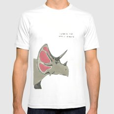triceratops MEDIUM White Mens Fitted Tee