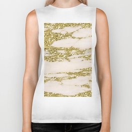Marble - Gold Marble Glittery Light Pink and Yellow Gold Biker Tank