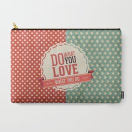 Do what you love text quote red and blue dots and stars pattern Carry-All Pouch