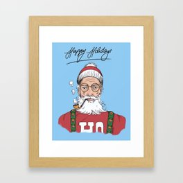 Hispter Santa Christmas Card Framed Art Print