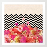 robin Art Prints featuring Chevron Flora II by Bianca Green