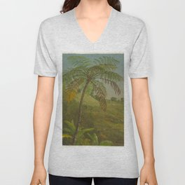 Vintage Painting of Palm Tree in Jamacia, 1865 Unisex V-Neck