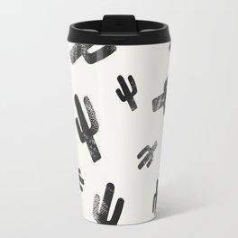 Black and White Lino Print Cactus Pattern Travel Mug