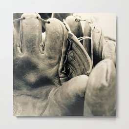 Vintage Baseball Gloves Metal Print