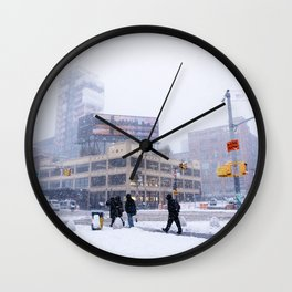 Snowy NYC Meatpacking District Wall Clock