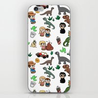 jurassic park iPhone & iPod Skins featuring Jurassic Park Bits by Lacey Simpson