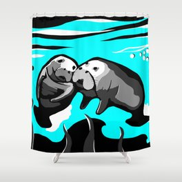 Manatee Love in blue Shower Curtain