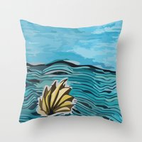 shell Throw Pillows featuring Shell by I'm Knot Tangled