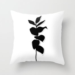 Plant silhouette line drawing - Evie layered Throw Pillow