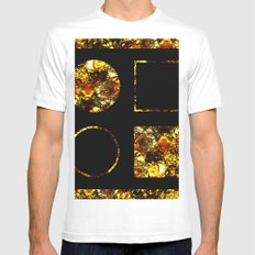 Golden Shapes - Abstract, black and gold, circles and squares, geometric, metallic art Mens Fitted Tee MEDIUM White